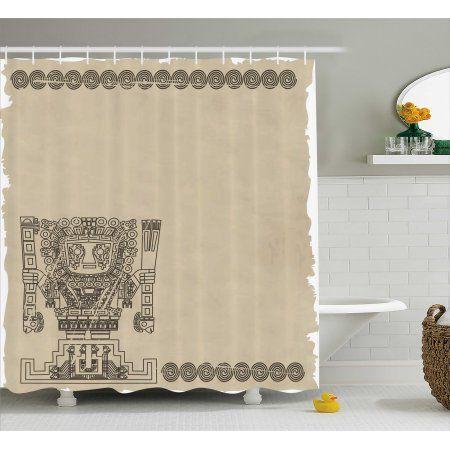 Native American Shower Curtain Mayan And Inca Tribal Symbols