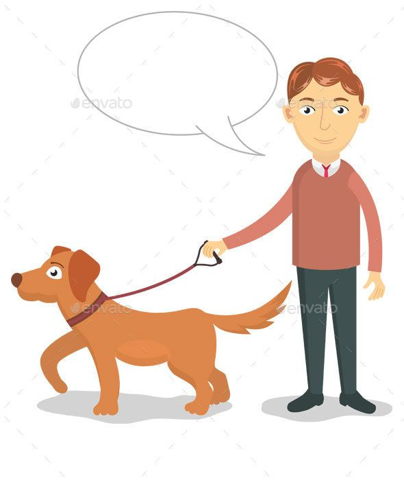 A Man Walks With His Dog Dog Illustration Dogs Guy Drawing