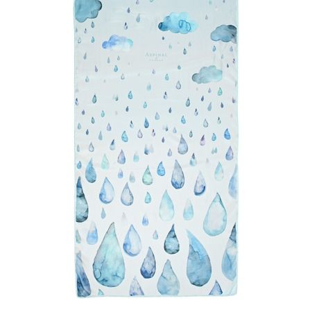 Long Raindrops & Clouds Cashmere & Modal Scarf in Aqua