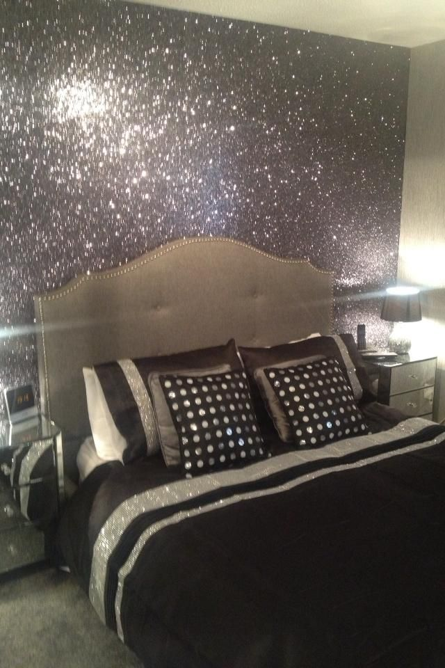 black and silver glitterwallpaper used here in a bedroom project over 70 colours - Black White And Silver Bedroom Ideas
