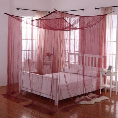 mercer41 corene palace 4 post bed sheer panel canopy net color - Gotische Himmelbettvorhnge
