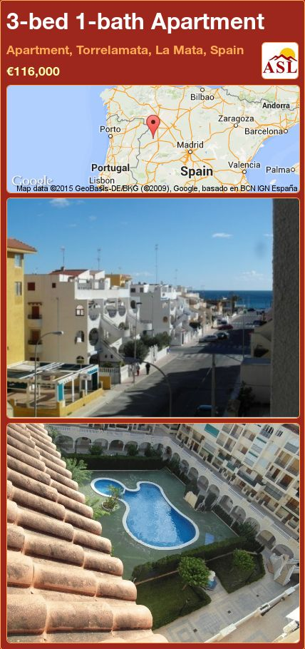 3-bed 1-bath Apartment in Apartment, Torrelamata, La Mata, Spain ►€116,000 #PropertyForSaleInSpain
