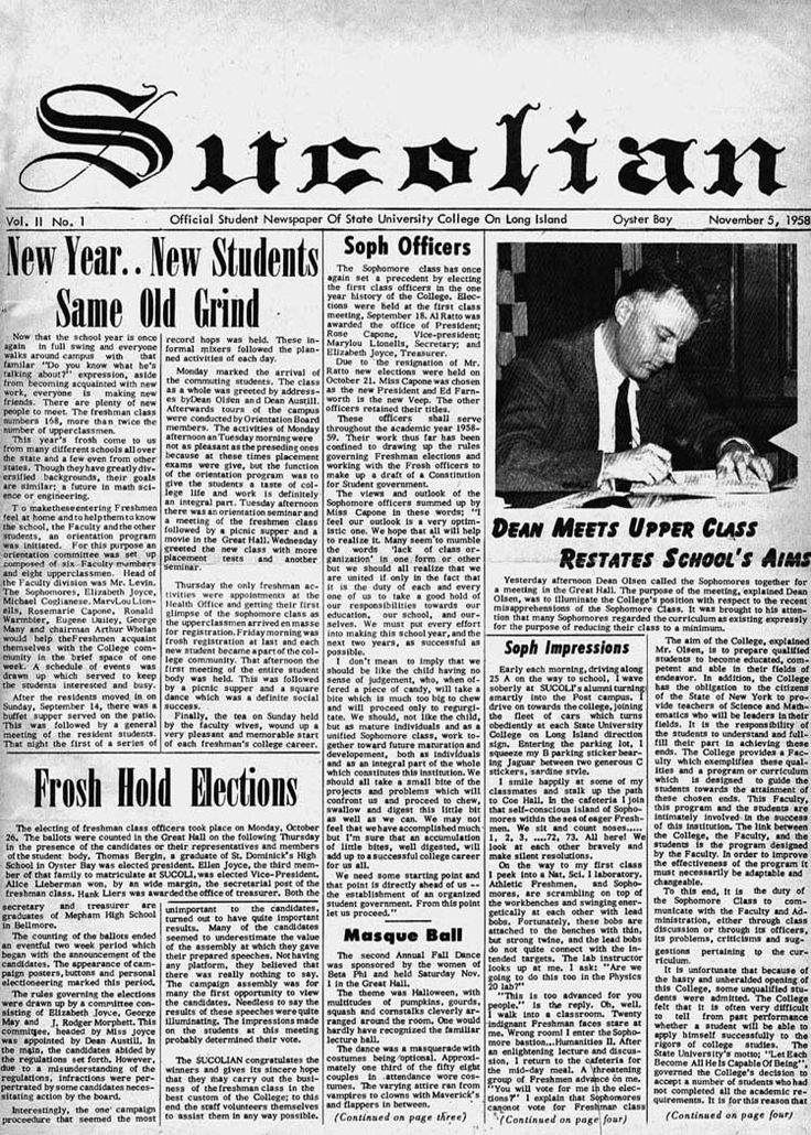 Under the direction of editor Henri Smit, the first student publication, the SUCOLIAN, (derived from the State University College on Long Island), was published in February 1958. A year later, the newspaper was renamed The Statesman (credit: University Archives, Stony Brook University).