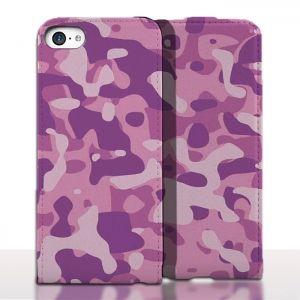 Etui de Cuir iPhone 5 Camouflage Rose. #Etui #Apple #iPhone5 #Camo #Navy #Leather #Case