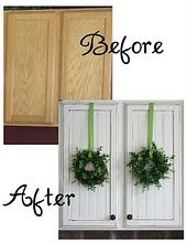 Beadboard on cabinet doors: I love that whitewashed style!: Ideas, Cupboards Makeovers, Cabinets Redo, Cabinet Doors, Kitchens Cupboards, Kitchens Cabinets, Wreaths, Cabinets Doors, Kitchen Cabinets