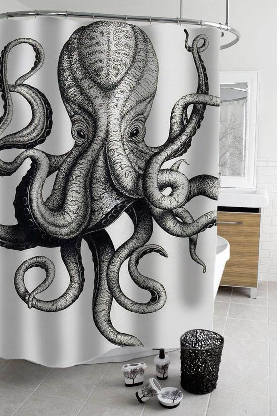 octopus shower curtain by stacygood4 on Etsy