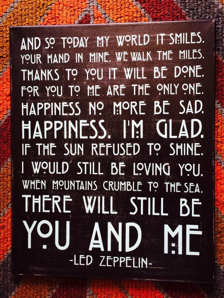 Led Zeppelin 'Thank You' lyric wall art I made for my brother & his wife