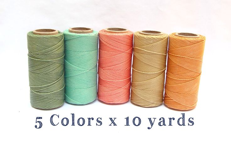 Waxed Cord - Linhasita - Macrame Cord - Waxed Polyester Thread - Set of 5 Colors - 10 yards each - PASTEL by ColorSupply on Etsy https://www.etsy.com/listing/150170889/waxed-cord-linhasita-macrame-cord-waxed