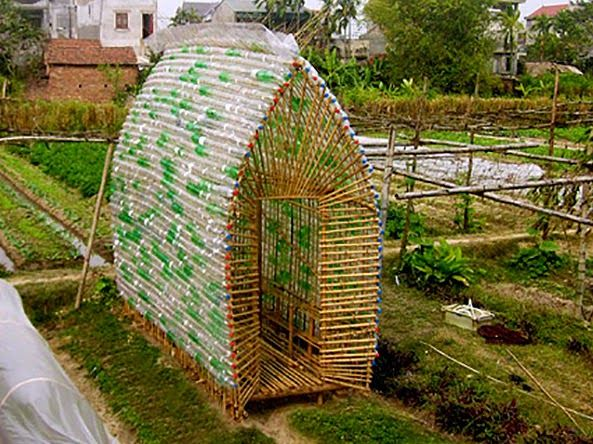 The Flying Tortoise: A Very Simple, Very Clever Vegetable Nursery In Vietnam Made From Bamboo And Recycled Soda Bottles...