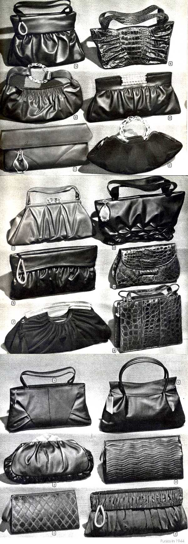 1940s Handbag Fashions purse catalogue photo illustration vintage style war era bag clutch handle cloth leather