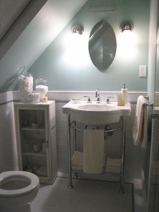 63 best images about attic bathroom sloped ceiling on for Small 3 piece bathroom ideas