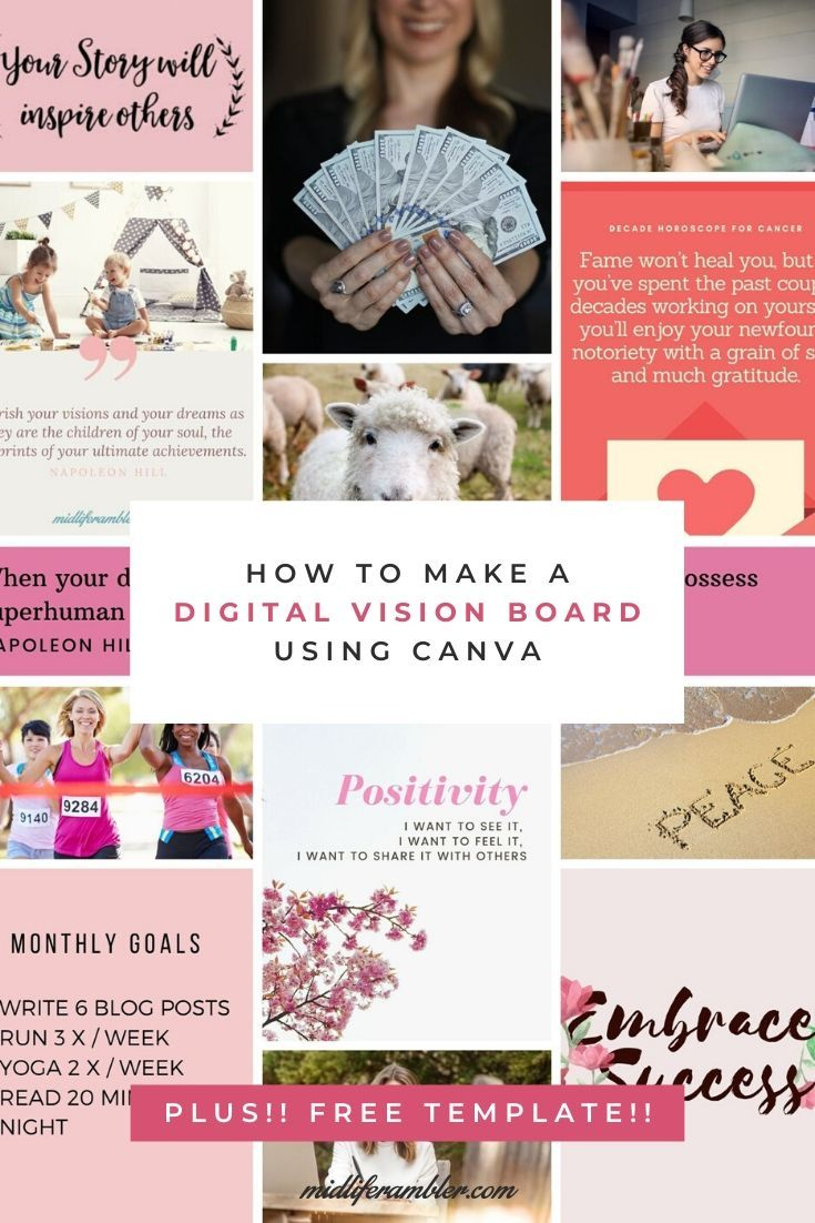 How To Make A Digital Vision Board With Free Template Digital Vision Board Online Vision Board Digital Vision Board Template