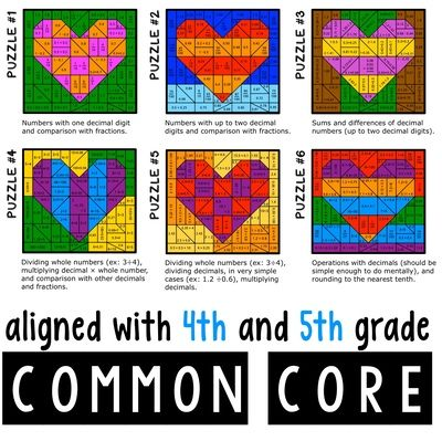 Working With Decimals - Differentiated Coloring Puzzles from Eleonora on TeachersNotebook.com (16 pages)