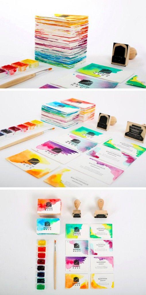 Handmade DIY Watercolor Business Cards
