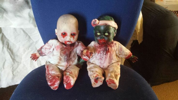 Hand painted zombie babies i made for my apocalypse party. #zombie