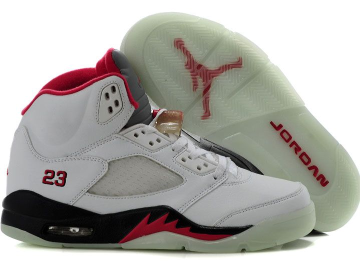 Discount White Black Red Air Jordan 5 Glow In The Dark Fashion Shoes Store