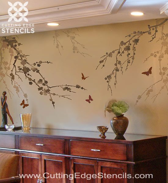 Best 25 tree wall stencils ideas on pinterest tree wall - Wall painting stencils for living room ...