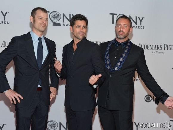 John Stamos (center) with Trey Parker and Matt Stone attend the 66th Annual Tony Awards at The Beacon Theatre