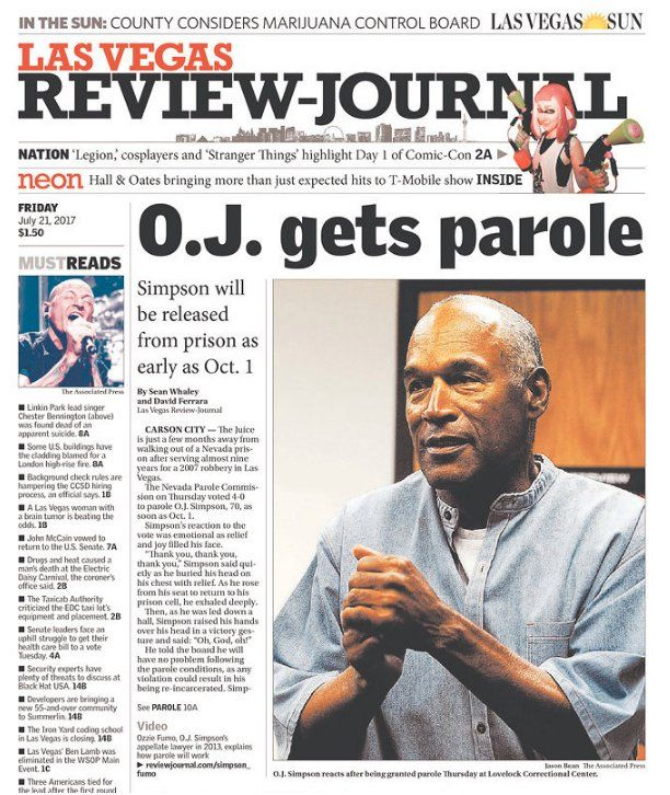 """Sports Illustrated on Twitter 20170721: """"Here's how newspaper front pages around the country reacted to O.J. Simpson's parole"""" https://www.si.com/nfl/2017/07/21/oj-simpson-parole-reaction-newspaper-front-pages-headlines?utm_campaign=sinow&utm_source=twitter.com&utm_medium=social&xid=socialflow_twitter_si"""