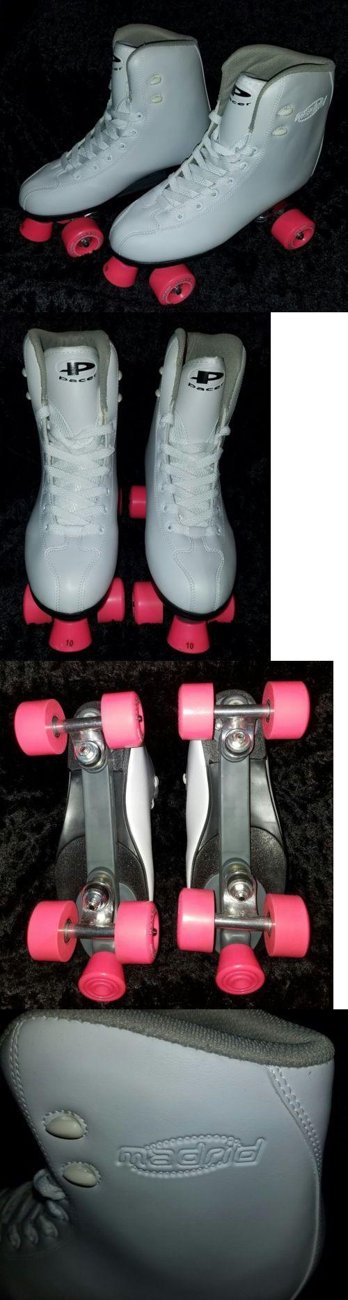 Roller skate shoes size 10 - Indoor Roller Skating 165938 New Pacer Madrid White Adult Ladies Quad Roller Skates Boots Size