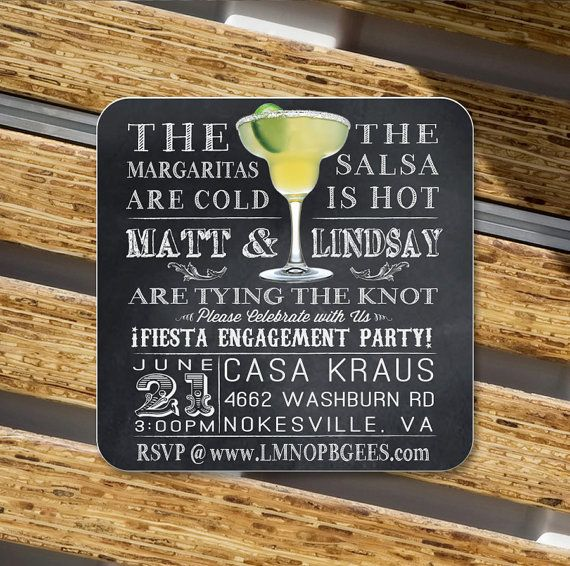 Custom Coasters Margarita Fiesta Invitation by Product80 on Etsy