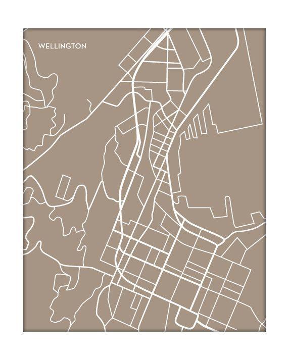 Wellington NZ Wall Art / City Map Line Drawing / by jennasuemaps, $18.00