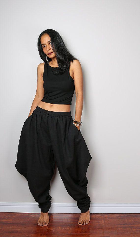 Black Pants / Black Harem Pants / Wide leg pants / by Nuichan