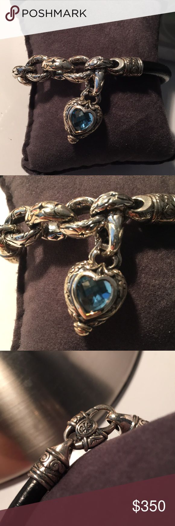 Scott Kay platinum chain link bracelet Scott Kay platinum bracelet with heart pendant and blue stone Scott Kay Jewelry Bracelets