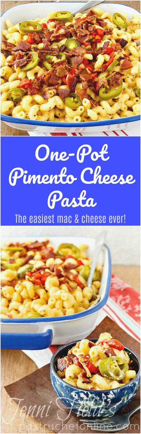 This one-pot pimento cheese pasta is the easiest macaroni and cheese you'll ever make. Creamy, rich, full of flavor, and only 4 ingredients. You're going to love this easy mac and cheese recipe! | pastrychefonline.com