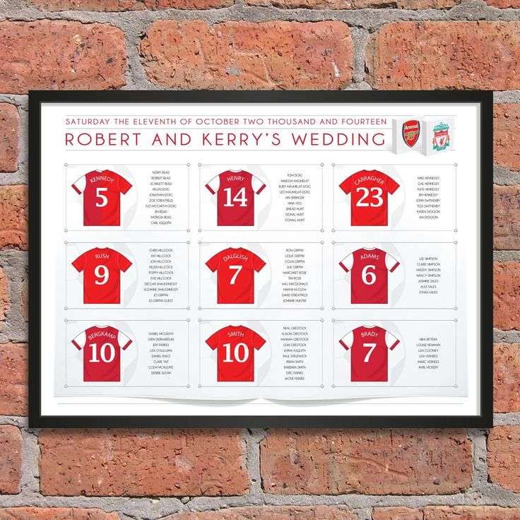 A must for football lovers is our Football wedding table plan. Choose players, positions or teams as your table names and we'll do the rest!