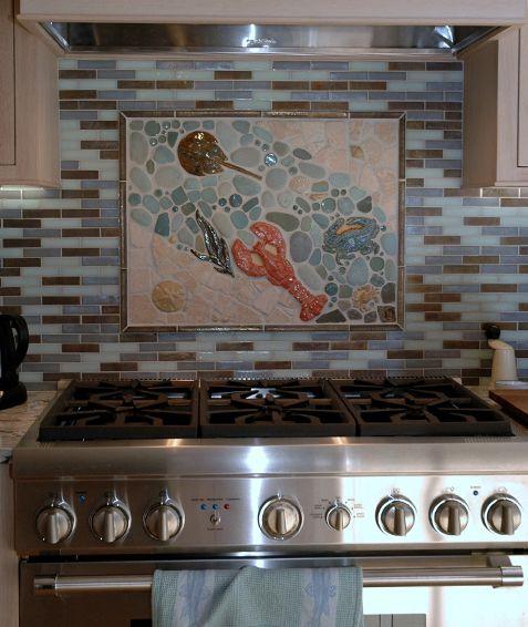 a beautiful custom kitchen mosaic backsplash mural made by