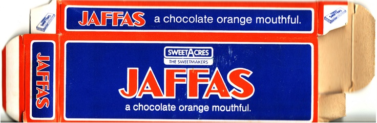 Mid 1980s Sweetacres Jaffas Confectionery Box - Side A - New Zealand