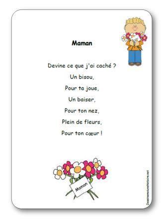 Paroles de la comptine Maman : Maman devine ce que j ai caché ? Un bisou, Pour ta joue, Un baiser, Pour ton nez, Plein de fleurs, Pour ton cœur !
