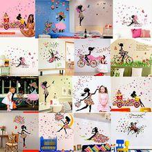 Bloem fee mooie faery vlinders dans Poster muurstickers, Leuke meisje zitkamer slaapkamer instelling muurstickers(China (Mainland))