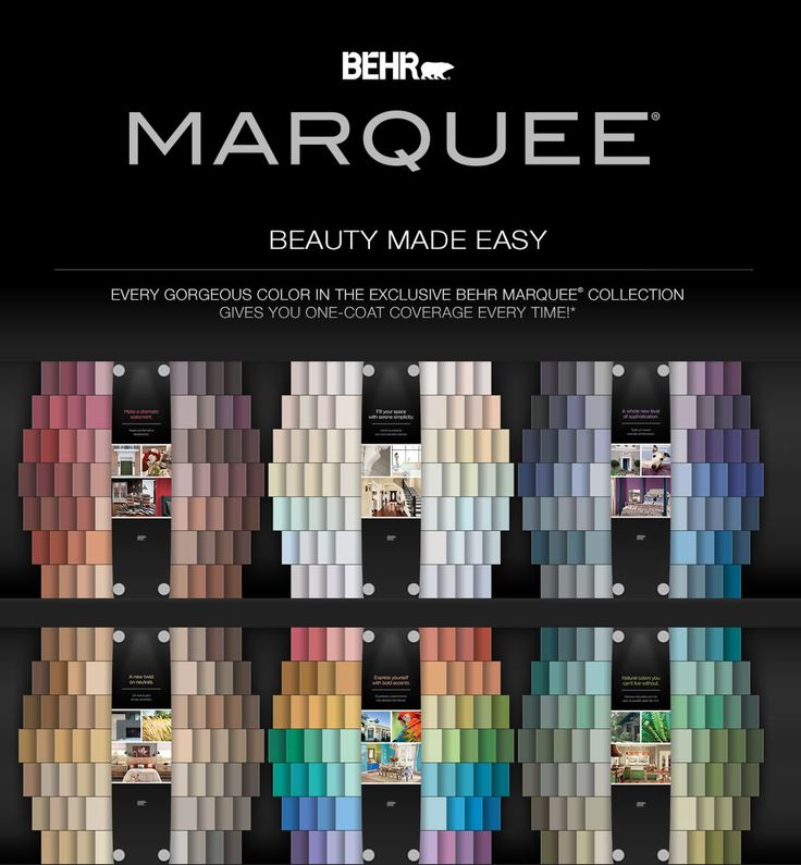 BEHR MARQUEE® Interior One-Coat Color Collection. Paint and primer
