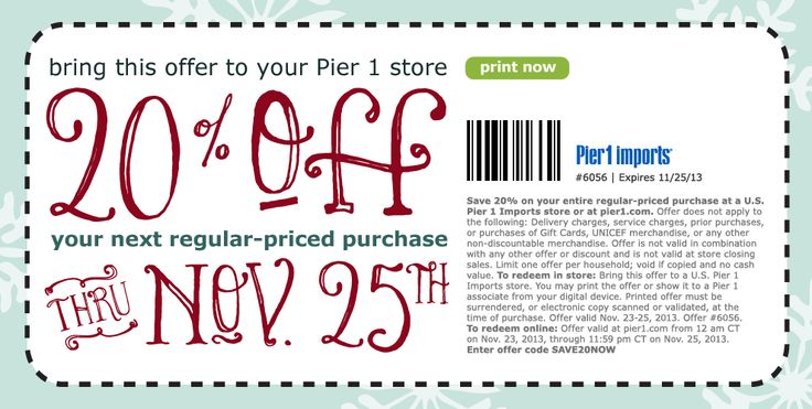 Shopping Tips for Pier 1: 1. Every month, a Pier 1 coupon is released for 10% to 20% off. There is usually a 20% off coupon released around the same time that applies to select products or categories like lighting, decor or frames.