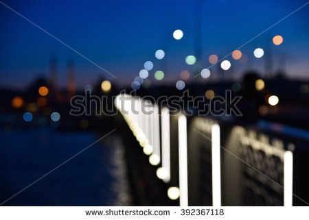 Blurry Istanbul Nights with Booked Lights of The Galata Bridge