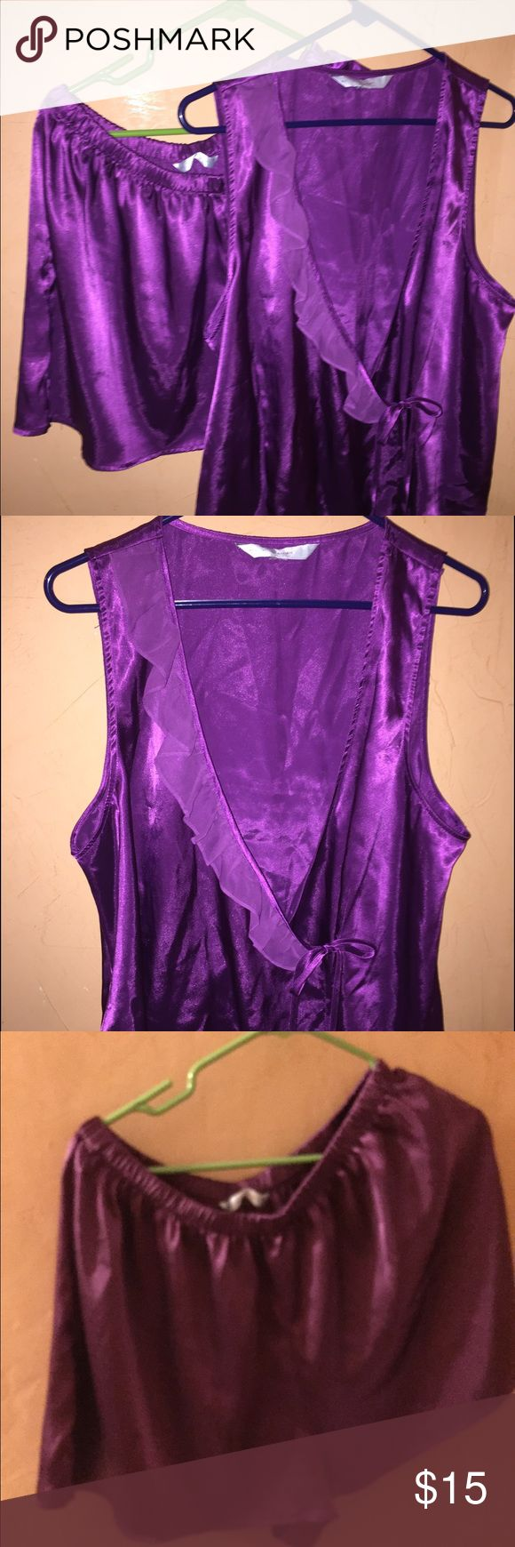 Lingerie size xxl top and short set Purple lingere set wrap top with inside button and tie closure with ruffle detail with shorts. carique Intimates & Sleepwear Pajamas