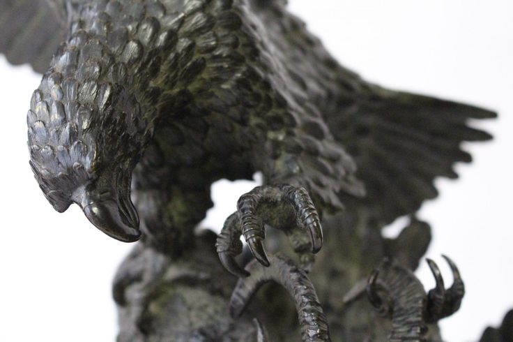 """Christophe FRATIN (1801-1864) Bouquetin assailli par deux aigles 1843, 51x45x20cm, Bronze.  Bronze à patine brune signé et daté sur la terrasse Fratin ; 1843. Epreuve ancienne sans marque de fondeur et numérotée à l'encre sous la base ; """"B2859 / Modèle."""" Provenance : collection Jacques Castex. http://www.edition-originale.com/fr/oeuvres-dart/peintures-sculptures/fratin-bouquetin-assailli-par-deux-aigles-1843-55692"""