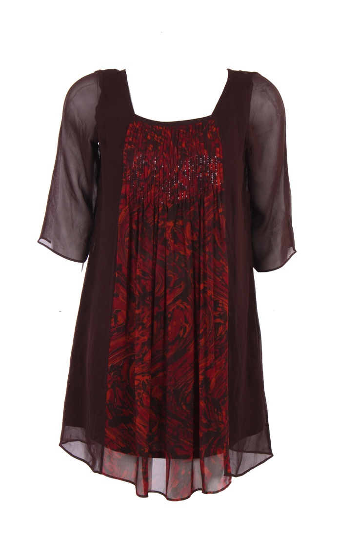 Brown Solid Kurti With Central Print Placement On Poly Georgette; Square Neck; Quarter Sleeve; 34 Inches In Length #Wishful #Clothing #Fashion #Style #Kurti #Wear #Colors #Apparel #Semiformal #Print #Casuals #W for #Woman