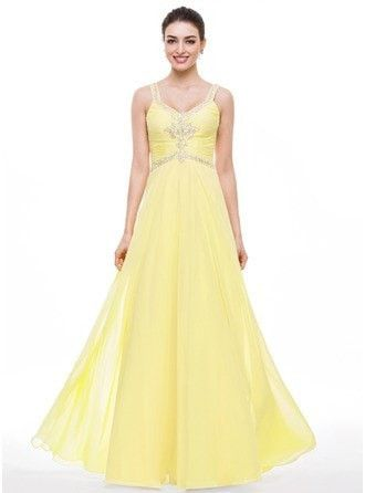 A-Line Princess V Neck Floor Length Chiffon Prom Dress With Ruffle Beading Sequins 018056801 g56801