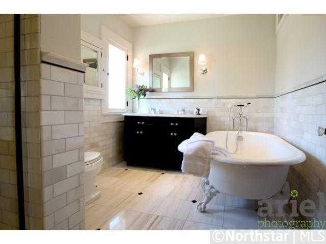 Nicole Curtis Rehab Addict   Minnehaha House Master Bathroom   Claw Foot  Tub   Subway Tile And Tile Shop Tile
