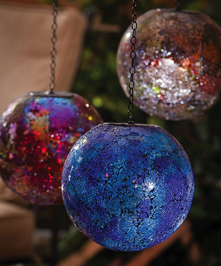 Add Some Unique Hanging Decoration To Your Outdoor Space With One Of These  Solar Powered Gazing Balls. The Blue Mosaic Style Ball Has A Solar Panel  That ...