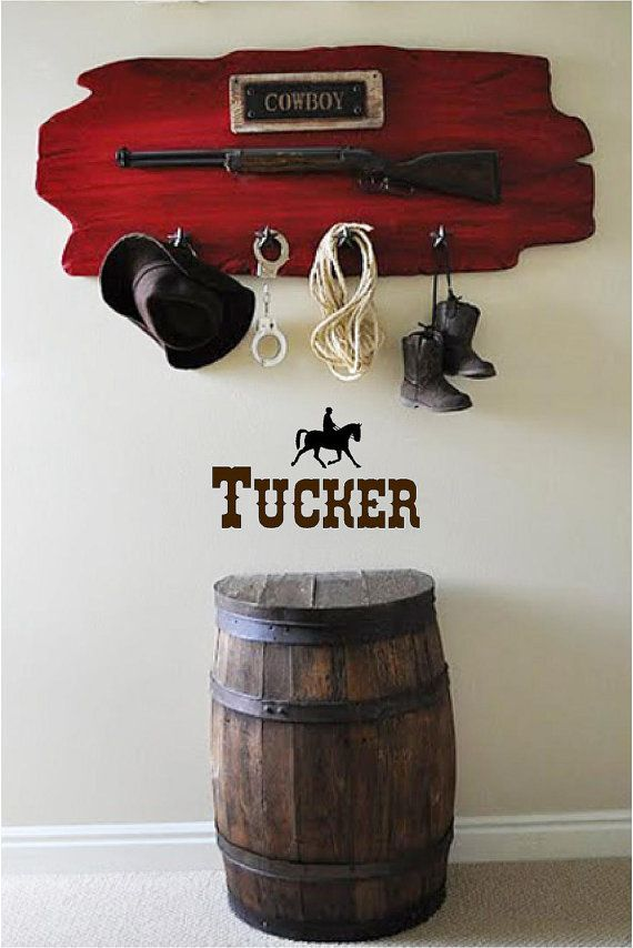 """Personalized Name & Horse - Vinyl Art Wall Decal for the Home or Babies Room - 24"""" W x 14"""" H"""