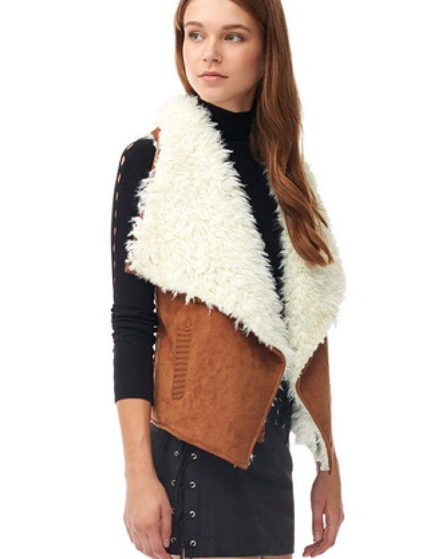 PELUŞLU SÜET YELEK www.fashionturca.com