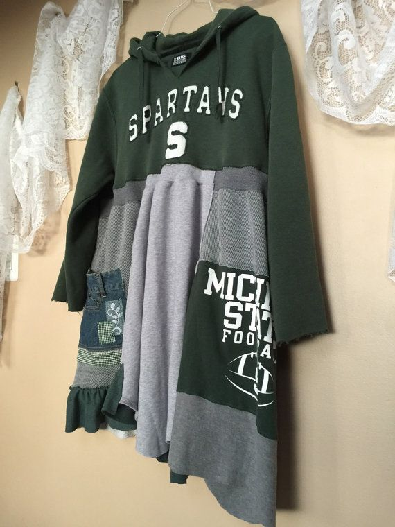 Upcycled MSU Game Day Sweatshirt Dress Warm by SimplyCathrineAnn