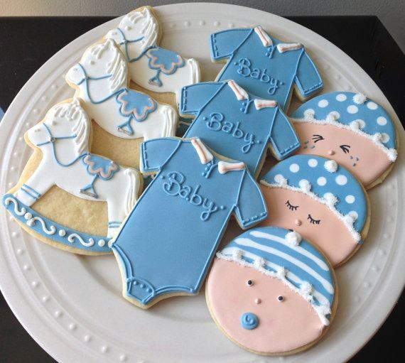 decorated baby cookies   Decorated Baby Shower Cookies Baby Faces, Onesies, and Rocking Horses ...