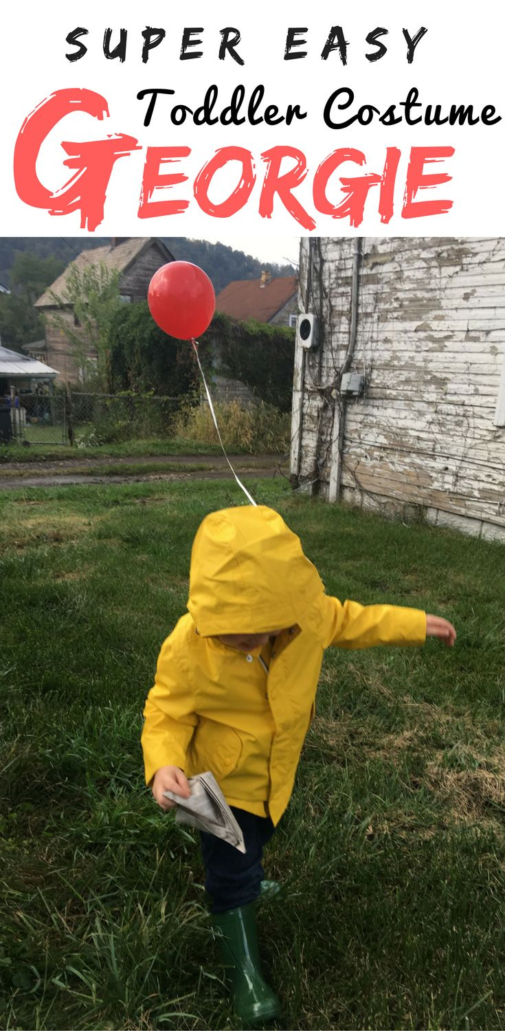 Super easy toddler Halloween costume: done .  Love how this icon Georgie outfit from Stephen King's IT can be worn throughout the year, not just for Trick or Treating.
