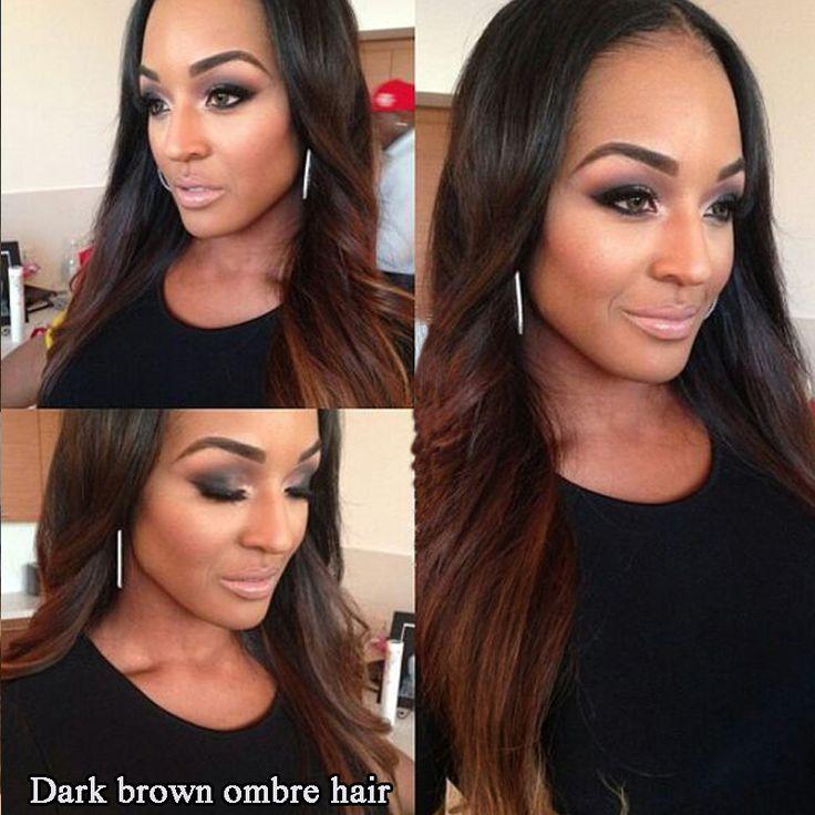 Ombre Braziliaanse Haar Straight 3 stks/partij donkerbruin Ombre Human Hair Extensions 1B #33 menselijk Haar Weave Bundels Remy gekleurde haar