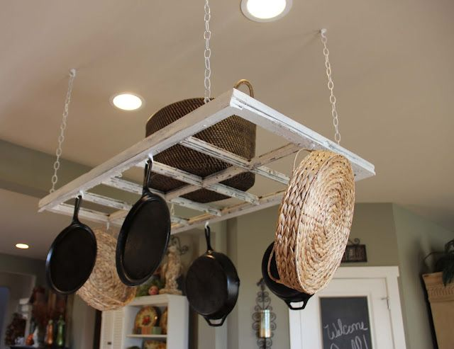 Vintage window turned into hanging pot-rack. (photo taken from savvy seasons website includes a how to video)